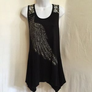 Size L Vocal Tunic, Animal Print Lace, Wing Design